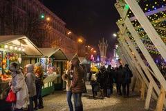 redaktionell Kyiv/Ukraine - Januar, 13, 2018: Weihnachtsdekorationen auf Sophia Square in der Mitte von Kiew, Ukraine lizenzfreie stockfotos