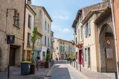 redaktionell Mai 2018 Straße der Stadt Carcassonne in Frankreich lizenzfreie stockfotografie