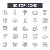 Redaktor kreskowe ikony, znaki, wektoru set, kontur ilustracji pojęcie royalty ilustracja