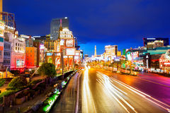Redaktörs- bruk endast Las Vegas Nevada Strip på natten Royaltyfria Foton