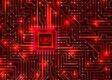 Redbackground digital de alta tecnología, CPU, vector libre illustration