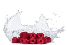 Redberries with water splashes on white Stock Images