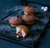 Redberry-Muffin blackground Zuckerschneepulver-Kuchenkleiner kuchen backte stockfotos