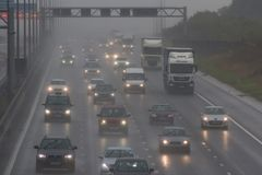 Bad weather on the British M1 motorway Stock Images