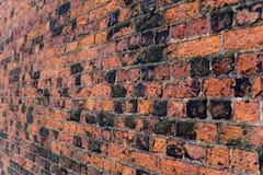 Redbrick wall on angle Royalty Free Stock Photos