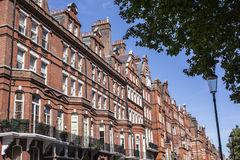 Redbricked houses and the park. This image shows a line of redbrick houses in London. There are some trees visible as well Royalty Free Stock Image