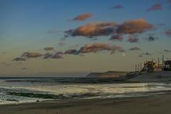 Redcar coast at sunset. North east coast of England. stock photos