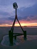 redcar solnedgång för strand Royaltyfri Bild