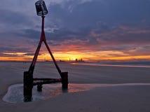 redcar solnedgång för strand Royaltyfri Fotografi