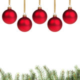 Redchrostmas balls with twig Stock Photos