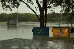Redcliffe AFl Club underwater. BRISBANE, AUSTRALIA - JAN 25 : One year on Brisbane flooding again, Redcliffe Peninsula Australian Football Club underwater Royalty Free Stock Photography
