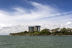 Redcliffe Sea Front. View of the ocean front seen from the jetty in Redcliffe, Australia royalty free stock photos