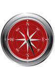 Redcompass.eps. Red and silver metal compass Stock Photography