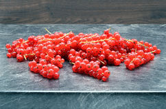 Redcurrant berries on black background Royalty Free Stock Photos