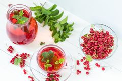 Redcurrant drink in transparent glass carafe and cup Stock Images