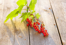 Redcurrant on wooden table Royalty Free Stock Image