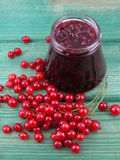 Redcurrants jam. Jar of redcurrants jam and some fresh currants royalty free stock photo