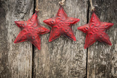 Redd Christmas tree decorations on grunge wood Stock Photos