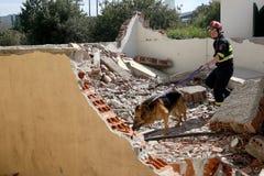 Redder met hond, tijdens een Opleidingsoefening stock fotografie
