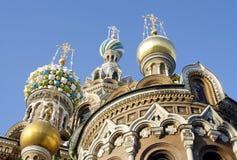 Redder-op-de-bloed Kerk in Heilige Petersburg Stock Afbeeldingen