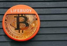 Reddingsboei bitcoin royalty-vrije stock foto's