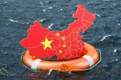 Reddingsboei met Chinese kaart in de open zee Brandkast, hulp en protec stock illustratie
