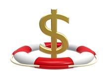 Reddingsboei met dollarteken royalty-vrije illustratie