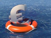 Reddingsboei met een euro symbool in het diepe water stock illustratie