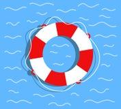 Reddingsboei op het water Vlakke stijl vectorillustratie stock illustratie