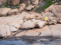 Reddingsboei op rotsen op de zuidenkust van Westelijk Australië Stock Foto's