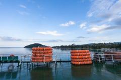 Reddingsboten aan boord van de veerboot op een achtergrond van blauwe hemel Stock Afbeeldingen