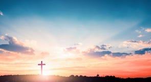Reddingsconcept: Het Dwarssymbool van christen en Jesus Christ royalty-vrije stock afbeeldingen