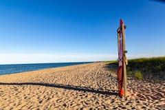 Reddingspost op de stranden van Chappaquiddick stock foto