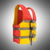 Reddingsvest rode gele geeft 3d op grijze achtergrond terug Stock Fotografie