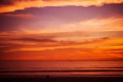 Reddish Beach Sunset. Pacific Ocean Scenic Sunset at the Beach royalty free stock photos