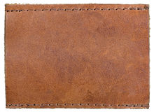Reddish Brown Blank Empty Natural Grained Texture Leather Label Jeans Tag, Large Detailed Isolated Textured Horizontal Macro. Background Pattern Royalty Free Stock Photo