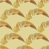 Reddish-brown color seamless pattern with ears of wheat. Royalty Free Stock Images