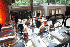 Amber Dinner Table Decoration Royalty Free Stock Photo