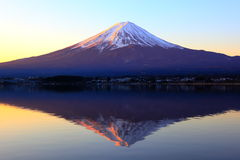 The Reddish Mountain Fuji And Reflection