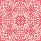 Reddish pink base with leafy petals seamless pattern background illustration Royalty Free Stock Photos