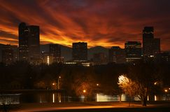 Reddish Sunset in Denver. Red Cloudscape Above Downtown Denver Skyline. Denver, Colorado, United States Stock Photography