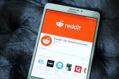 Reddit mobil app royaltyfria bilder