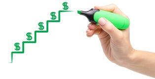 Reddito dei dollari dei soldi del grafico di crescita del diagramma del disegno della mano isolato fotografia stock libera da diritti