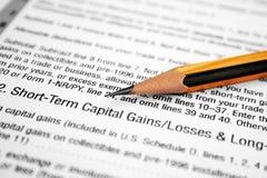 Reddito di capitale o perdite Fotografia Stock Libera da Diritti
