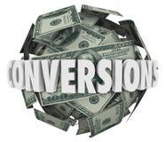 Reddito di profitto di vendite della palla dei soldi di parola di conversioni grande Immagini Stock