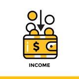 REDDITO lineare dell'icona di finanza, contante Pittogramma nel porcile del profilo Fotografia Stock