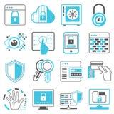Rede, ícones da segurança da Web ilustração do vetor