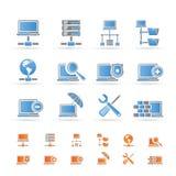 Rede, ícones do server e do acolhimento Imagens de Stock Royalty Free