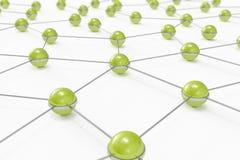 Rede abstrata feita fora das esferas verdes conectadas Foto de Stock Royalty Free