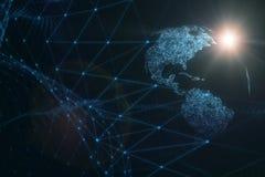 Rede artística do Cyberspace do planeta da terra imagens de stock